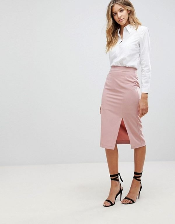 Mix & Match High Waisted Pencil Skirt With Split